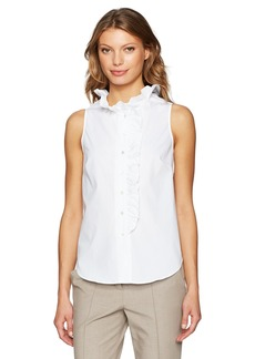Trina Turk Women's Davita Polished Shirting Ruffle Tank  M