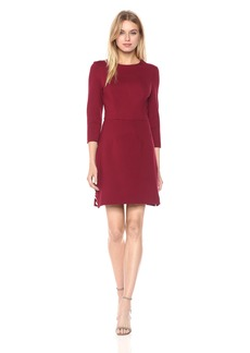 Trina Turk Women's Flush 3/4 Sleeve Ponte Dress with Gold Button Detail