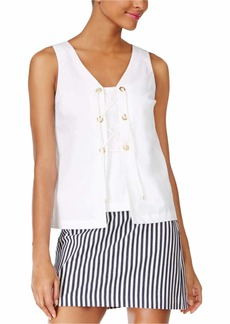 Trina Turk Women's Geary Sleeveless Lace Up Polished Shirting Top  L
