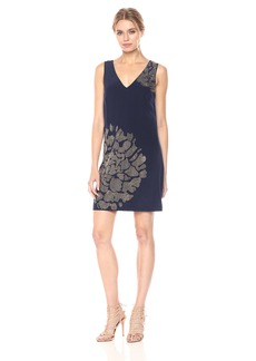 Trina Turk Women's Giltterati Sleeveless Silk Crepe De Chine Embellished Dress