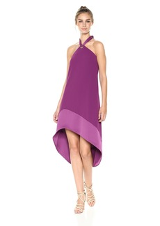 Trina Turk Women's Glow Halter Neck Carmel Crepe Dress