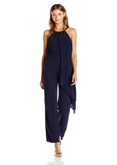 Trina Turk Women's Grand Matte Jersey Jumpsuit with Silk Drape Overlay