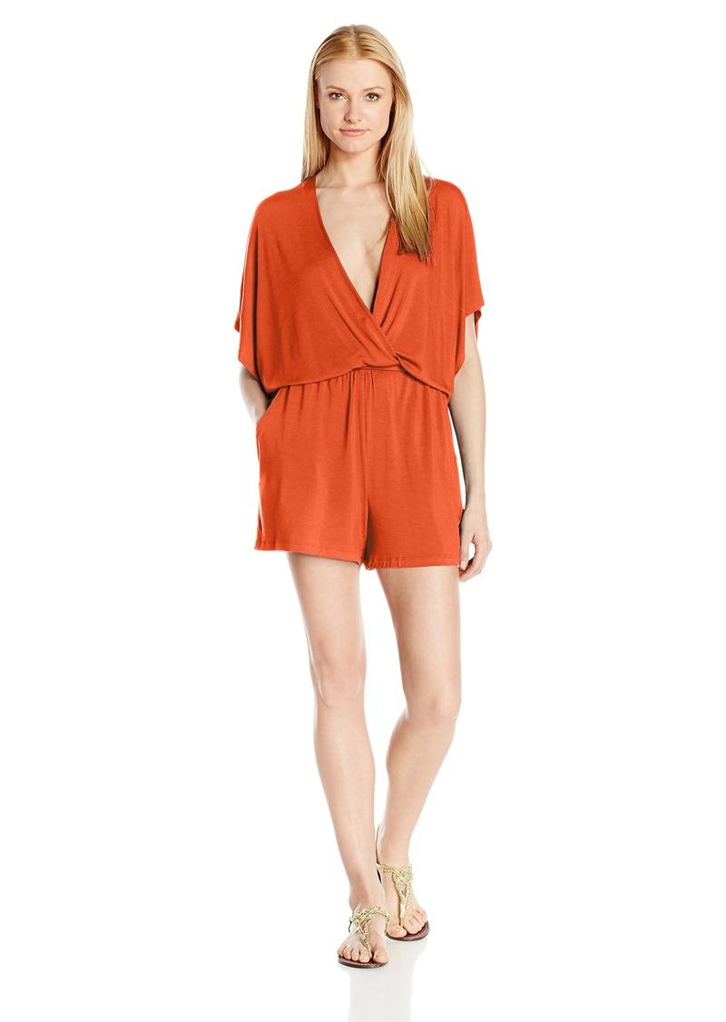 Trina Turk Women's Gypsy Jersey Kimono Sleeve Romper Cover Up Flame/FLA M