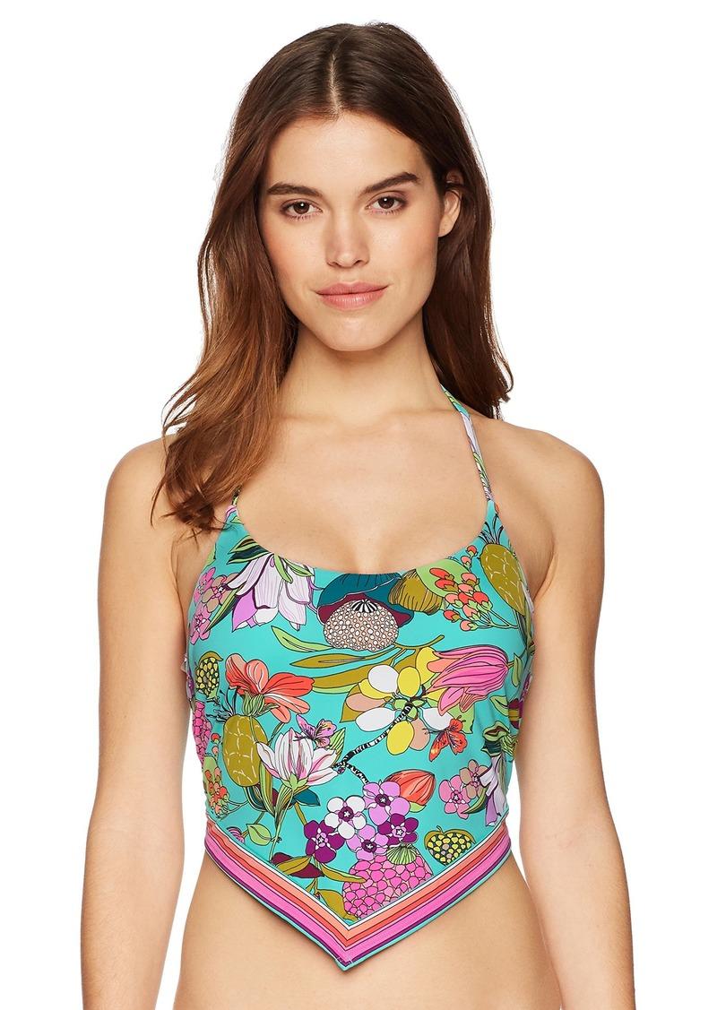 Trina Turk Women's Halter V-Neck Front Keyhole One Piece Swimsuit Aqua/Floral/Key West Botanical Print