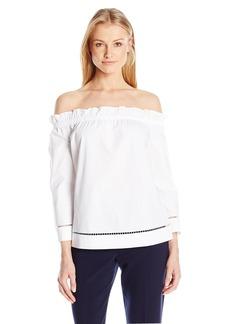 Trina Turk Women's Hanalei Polished Shirting Off Shoulder Top  XS