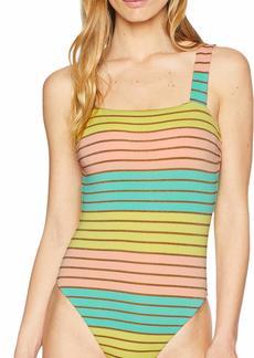 Trina Turk Women's High Leg One Piece Swimsuit Yellow/Orange/Green/Lurex Stripe Print