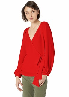 Trina Turk Women's Hue Long Sleeve Wrap Top Lacquer red