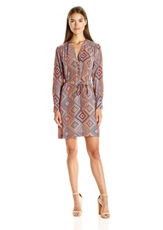 Trina Turk Women's Janny Quirk It Geo Silk Crepe De Chine Shirt Dress