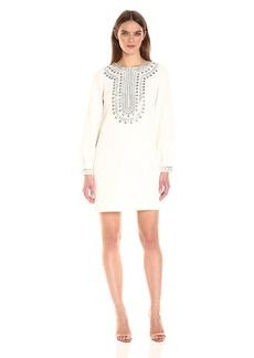 Trina Turk Women's Kapono Long Sleeve Classic Crepe Embellished Dress