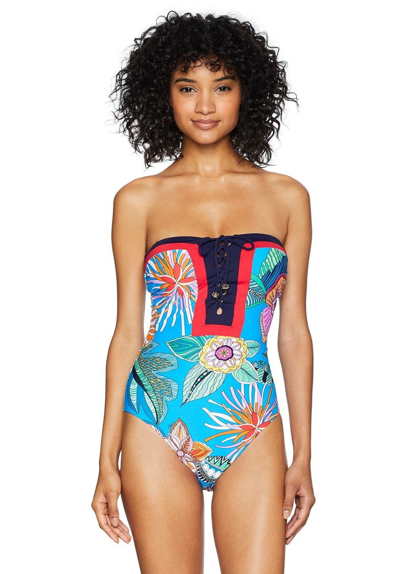 Trina Turk Women's Lace Front Bandeau One Piece Swimsuit Pacific Blue/Tahiti Tropical Leaf Print