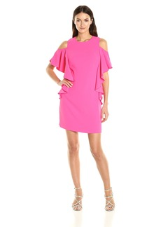 Trina Turk Women's Lambada Carmel Crepe Cold Shoulder Dress