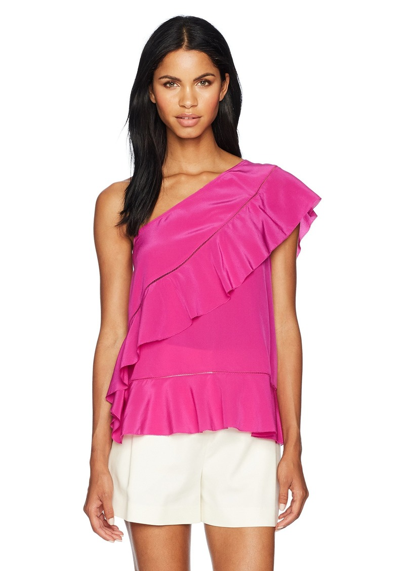 Trina Turk Women's Latana One Shoulder Silk Crepe De Chine Top  XS