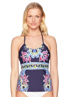 Trina Turk Women's Halter Tankini Swimsuit Top Navy/Lotus Batik Print