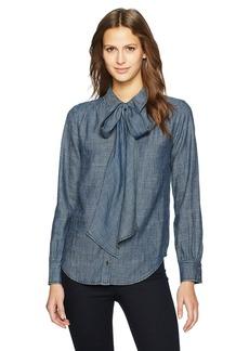 Trina Turk Women's Luce Tie Neck Crosshatch Chambray Shirt  S