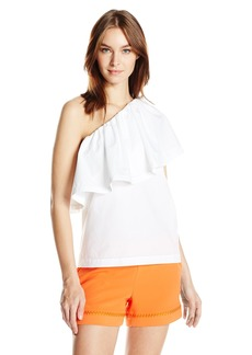 Trina Turk Women's Mayreau Ruffle Shirting One Shoulder Top  XL