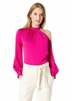 Trina Turk Women's Negroni One Shoulder Mock Neck Top  Extra Small