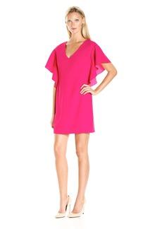 Trina Turk Women's Noble Flutter Sleeve Classic Crepe Dress