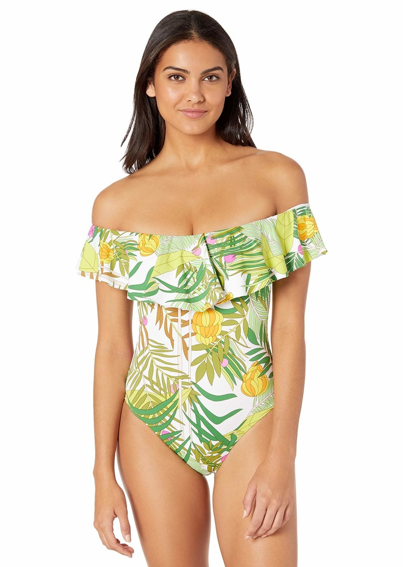 Trina Turk Women's Off-The-Shoulder Ruffle Bandeau One Piece Swimsuit