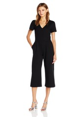 Trina Turk Women's Opportune Tropical Ponte Short Sleeve Cropped Jumpsuit