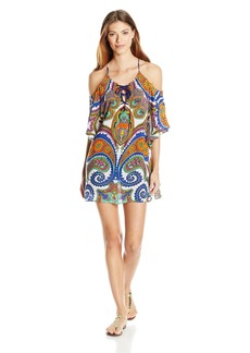 Trina Turk Women's Pacific Paisley Off-The-Shoulder Tunic Cover Multi L