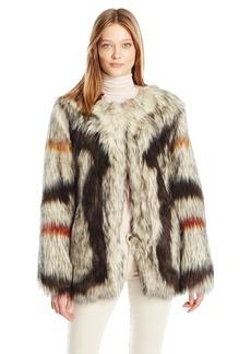Trina Turk Women's Paisley Faux Fur Coat  XS