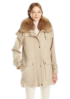 Trina Turk Women's Peyton Wool Blend Coat with Natural Racoon Fur