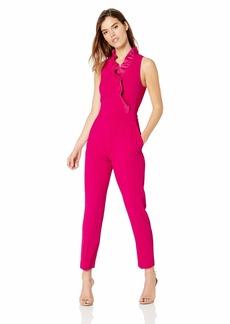 Trina Turk Women's Pink Lady Ruffle Collar Jumpsuit Vivid