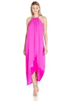 Trina Turk Women's Poinciana Silk Maxi Dress with Gold Neck Detail