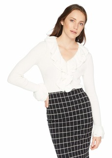 Trina Turk Women's Quill 2 Ruffle Neck and Sleeve Sweater White wash
