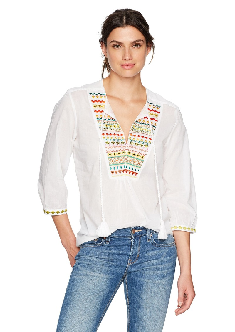 Trina Turk Women's Renzo Zig Zag Embroidered Top White wash S