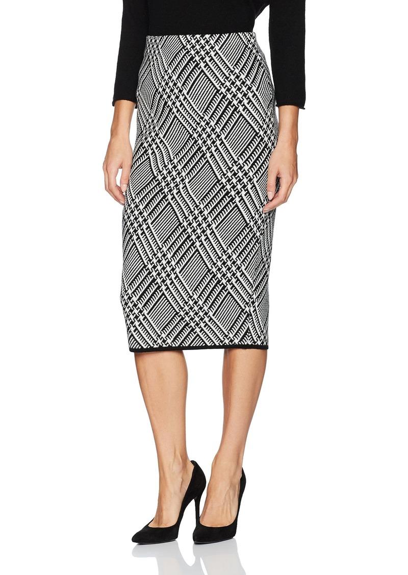 Trina Turk Women's Robertson Wool Knit Plaid Skirt Black/White wash L