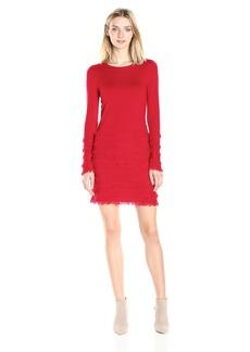 Trina Turk Women's Sass Long Sleeve Fringe Sweater Dress  M
