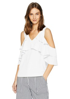 Trina Turk Women's Sebastapol Ruffle Cold Shoulder Top White wash