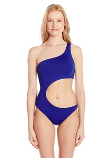 Trina Turk Women's Shoulder Cut Out One Piece Swimsuit Navy/Indigo / Gypsy Solid
