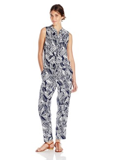 Trina Turk Women's Sleeveless Zandra Woodblock All Over Drape Jumpsuit