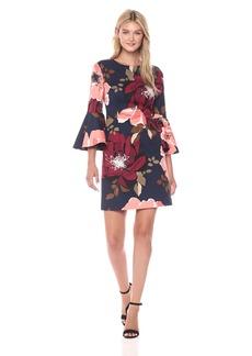 Trina Turk Women's Splendid Botanical Medley Faille Bell Sleeve Dress