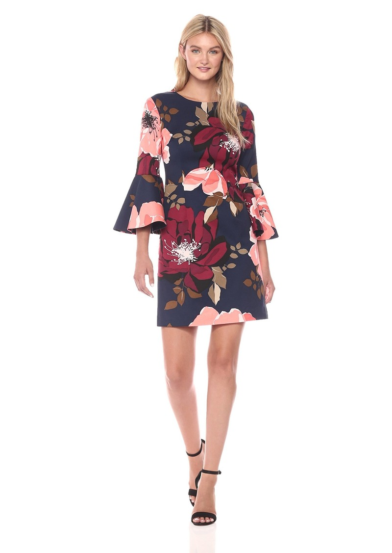 Trina Turk Women's Splendid Botanical Medley Faille Bell Sleeve Dress