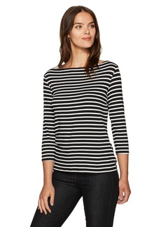 Trina Turk Women's Tamora Boatneck Striped Must Have Jersey Top Black/White wash XS
