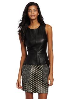Trina Turk Women's Tatyna Leather Peplum Top
