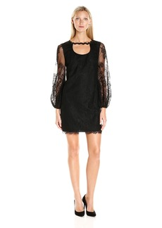 Trina Turk Women's Tipsy Delicate Floral Lace Long Sleeve Dress