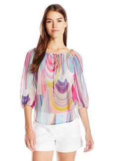 Trina Turk Women's Traveller 2 Rainbow Reflections Georgette Top