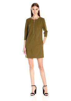 Trina Turk Women's Versed Luxe Drape Zip Front Dress