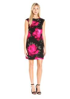 Trina Turk Women's Wondrous Fosse Floral Faille Cap Sleeve Dress