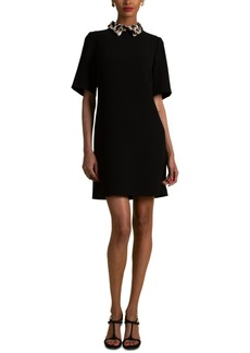 Trina Turk Yokan Faux-Fur-Collar Dress