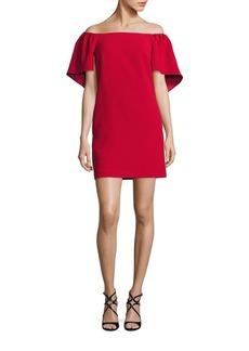 Trina Turk Zeal Off-The-Shoulder Cape Dress