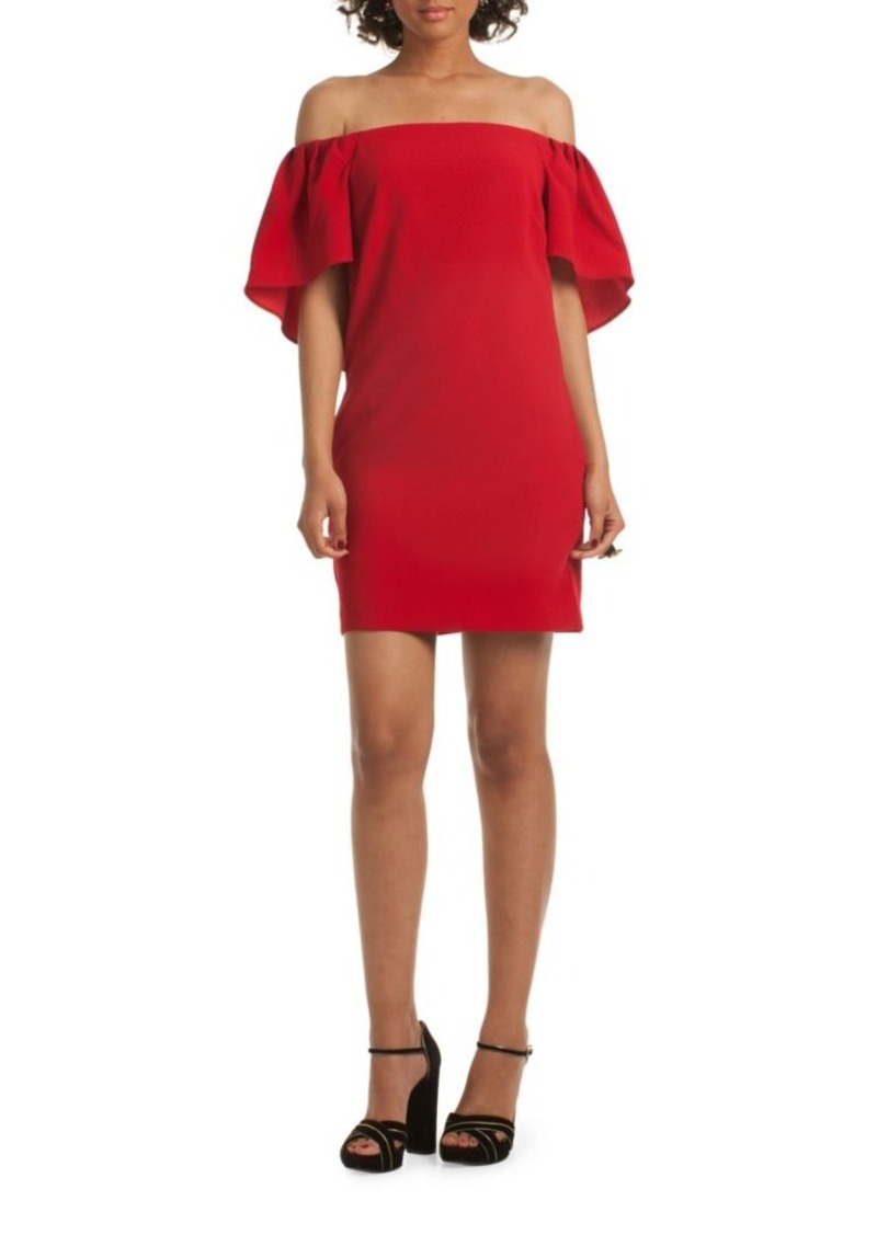 Trina Turk Zeal Off The Shoulder Cape Dress