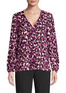 Trina Turk V-Neck Abstract Print Blouse