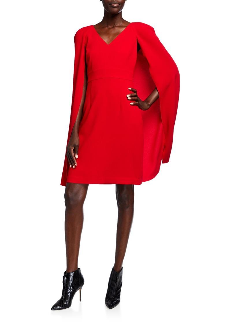 Trina Turk V-Neck Crepe Sheath Dress w/ Cape