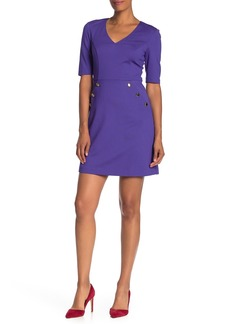 Trina Turk Valentina V-Neck Pocket Sheath Dress