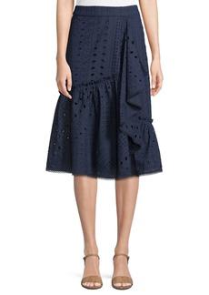 Trina Turk Vallejo Cotton Skirt w/ Eyelets